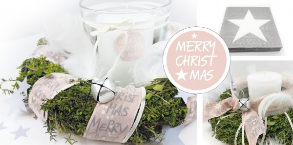 "Deko-Box rosé ""Merry Christmas"" + Serviette Star"
