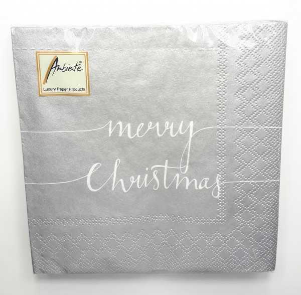 "Serviette ""Merry Christmas"" silber"