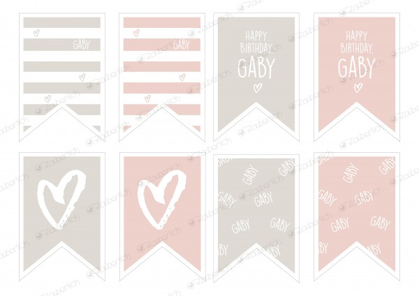 "Girlande 8 Wimpel individual. blush ""Happy Birthday"""