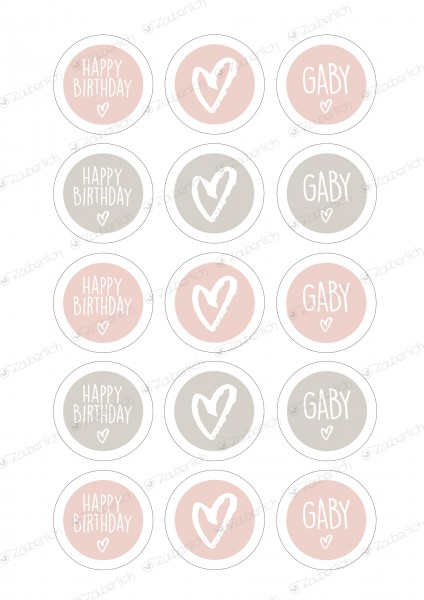 15 Folienaufkleber individual. blush 5 cm Happy Birthday