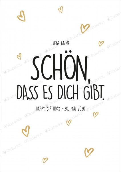 "Poster individual.schwarz/weiß/gold ""Happy Birthday"""