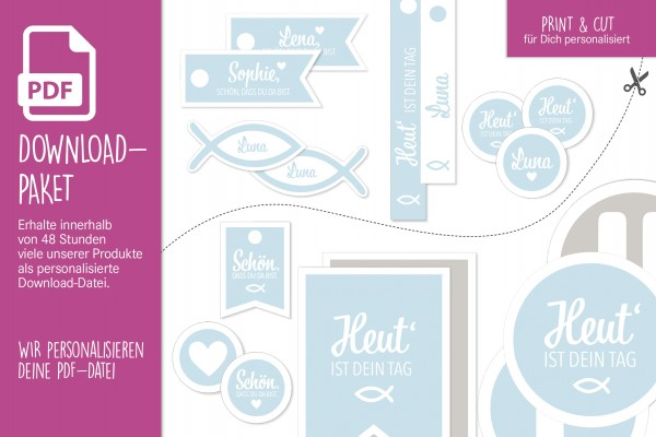 "Download-Paket ""Comfort"" • Kommunion-Konfirmation-Taufe • personalisierbar • eisblau"