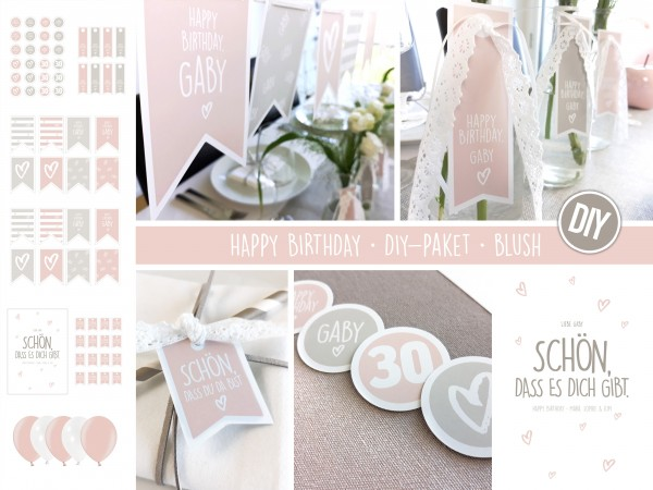 "DIY-Paket • Geburtstag • personalisierbar • blush ""Happy Birthday"""