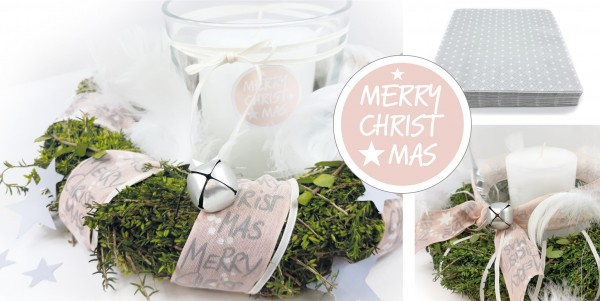 "Deko-Box rosé ""Merry Christmas"" + Serviette little Stars"