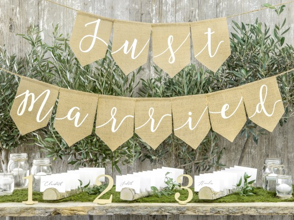 "2 Girlanden • Hochzeit • ""Just married"" Jute"