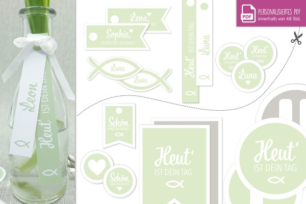 "Download-Paket ""COMFORT"" • Kommunion-Konfirmation-Taufe • personalisierbar • pastellgrün"